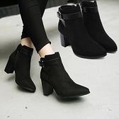 粗跟短靴-時尚簡約尖頭設計女馬丁靴73is4[時尚巴黎]