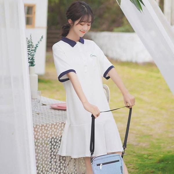 白色洋裝 2020夏新款ins字母洋裝短袖學生荷葉邊中長款POLO領T恤裙 果果生活館