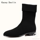 彈力佈飛織短靴 鹿皮內里襪靴 中筒防水女式靴【Kacey Devlin 】