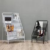 北歐簡約現代鐵藝雜志架置物架簡易落地兒童繪本小書架小學生書櫃 IGO