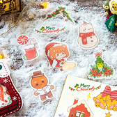 【BlueCat】聖誕節系列水彩畫星星雪屋手帳貼紙包 (40枚)