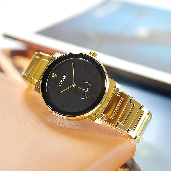 CITIZEN 星辰表 / BE9182-57E / 簡約時尚 礦石強化玻璃 日本機芯 不鏽鋼手錶 黑x鍍金 42mm