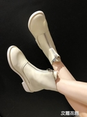 短靴女2019春秋新款靴子女中跟粗跟前拉鏈英倫風馬丁靴女單靴『艾麗花園』