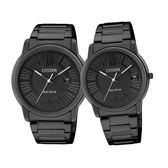 CITIZEN 星辰新潮速配 時尚光動能情人對錶-黑AW1215-54E/FE6015-56E