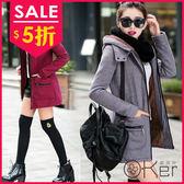 韓國顯瘦長版保暖外套 O-Ker 歐珂兒 LL10161 (尺寸偏小,請拿大一號)-C