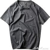 原創潮牌純色短袖t恤 男士純棉打底衫 青少年夏季潮流情侶圓領t恤   蜜拉貝爾