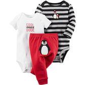 Carter's 美國童裝 套裝 長袖 短袖 包屁衣 三件組 長褲 條紋 小企鵝 紅色 3M 9M