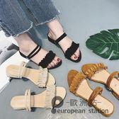 涼鞋/兩穿女夏粗跟中跟木耳花邊羅馬一字涼拖鞋女「歐洲站」