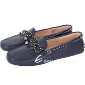TOD'S Gommino 撞色綁帶豆豆休閒鞋(黑夜藍) 1730309-34