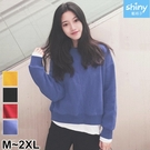 【V2694】shiny藍格子-舒適絕倫.假二件拼接圓領長袖刷毛上衣