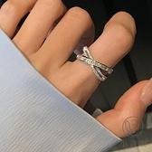 時尚滿鉆配飾戒指女交叉食指環開口【小酒窝服饰】