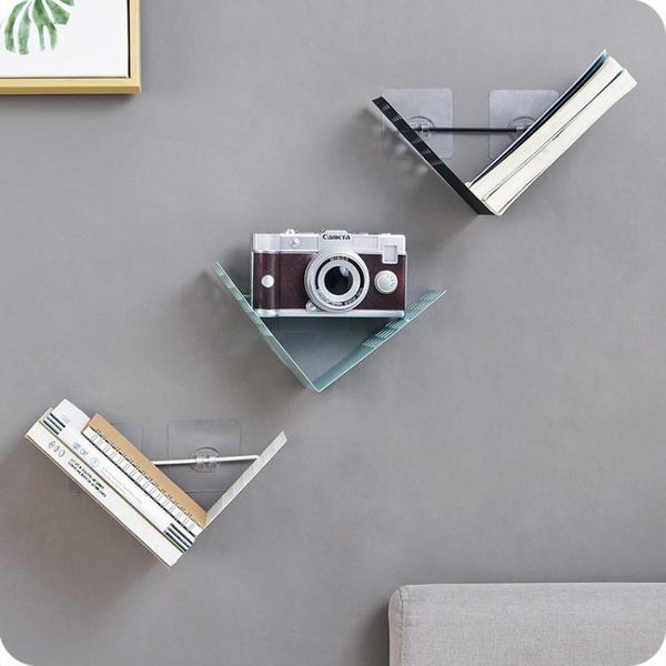 工業風鐵藝墻上置物架 客廳臥室免釘裝飾架壁掛書架整理架