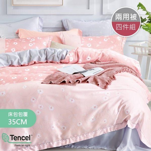【R.Q.POLO】純天絲TENCEL系列 兩用被床包四件組 雙人標準5尺(曉塵粉)