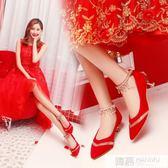 婚鞋女新款紅色新娘鞋高跟鞋細跟中式結婚鞋孕婦敬酒紅鞋 韓幕精品