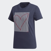 Aadidas Adi Heart Graphic T 女裝 短袖 休閒 棉質 愛心 藍【運動世界】GD4997