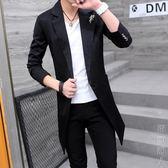 西裝外套西裝男中長款帥氣季青年長款風衣修身型潮流學生西服外套 街頭潮人