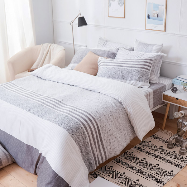 床包兩用被組 / 雙人加大【日青】含兩件枕套 60支天絲 戀家小舖台灣製AAU315