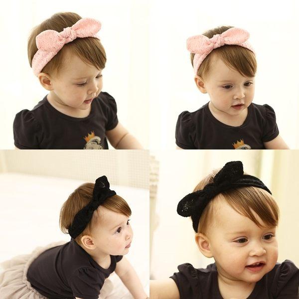 髮帶 韓版 兒童 布蕾絲 兔子 打結造型 髮飾 BW