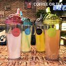 創意塑料雙層吸管杯透明水杯子  全館免運...