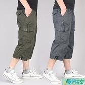 男士中褲 夏季短褲男士七分褲男夏天寬鬆工裝多口袋中褲休閒7分褲運動馬褲