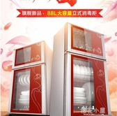 88L消毒櫃家用櫃式迷你餐具廚房碗筷立式高溫臭氧小型消毒櫃QM『櫻花小屋』