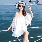 韓版裙子雪紡白色吊帶一字肩洋裝