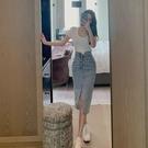 高腰開叉中長款牛仔裙女2021夏季新款時尚一步裙修身包臀半身裙子 快速出貨