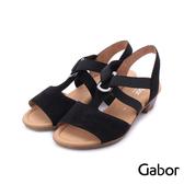 德國GABOR 三角金屬扣環蜜桃絨低跟涼鞋 黑 82.471.47 女鞋
