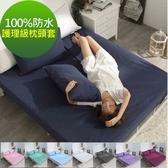 【eyah】台灣製專業護理級完全防水雙面枕頭套2入組 8色任選寶石藍