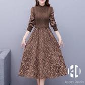 碎花連身裙女秋冬法式復古中長款假兩件長袖內搭針織裙子【Kacey Devlin 】