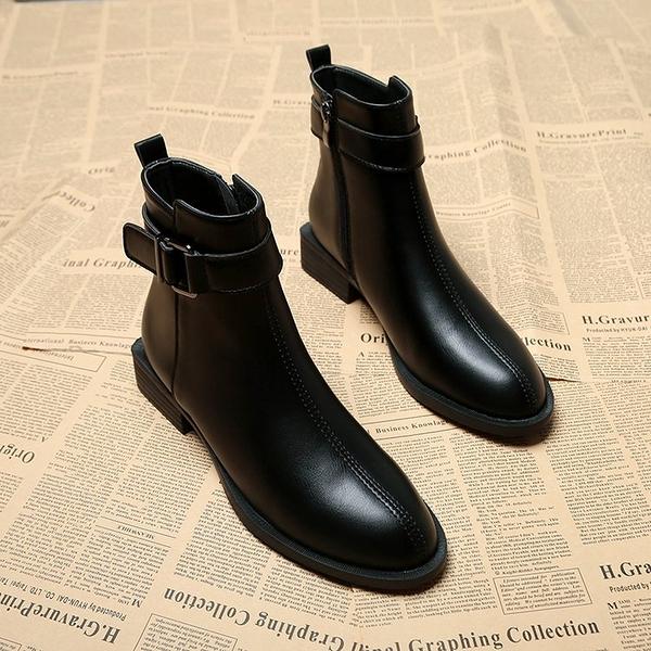 靴子女短靴2020年新款百搭秋款小跟平底秋冬季女鞋瘦瘦加絨馬丁靴「時尚彩紅屋」