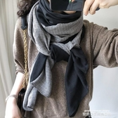 圍巾 圍巾女秋冬季韓版百搭拼接撞色純色格子文藝棉麻薄披肩長紗巾春秋 萊俐亞