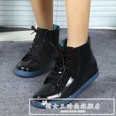 中大童系帶兒童雨鞋男童女童小孩雨靴小學生防滑水鞋膠鞋『韓女王』