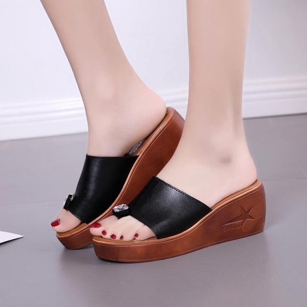 高跟鞋 夏季韓版新款高跟女外穿休閒厚底鬆糕坡跟平底一字拖女涼拖鞋 星河光年