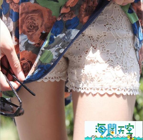 安全褲 夏季薄款三分安全褲黑色蕾絲外穿打底褲女防走光短褲保險褲大碼 【海闊天空】