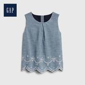 Gap 女幼童 優雅鏤空刺繡牛仔洋裝 539940-淡雅藍