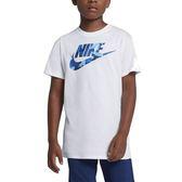 Nike Big Kids' 大童裝 白 藍 運動上衣 短袖 棉T 短T 乾爽 舒適 訓練上衣 排汗 短袖T恤 923665100