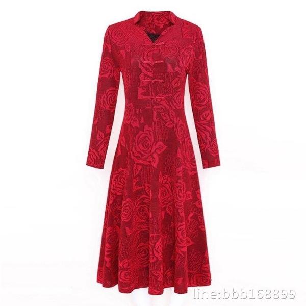 大碼禮服 秋冬長袖連衣裙提花旗袍大碼加絨中長款媽媽裙子高貴厚禮服中年女 瑪麗蘇
