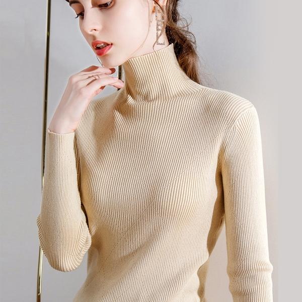 半高領素色內搭長袖性感鏤空套頭毛衣針織衫(二色S-3XL可選)/設計家 AL50120
