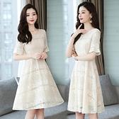 M-4XL胖妹妹洋裝連身裙~蕾絲拼接連身裙.T135A衣時尚
