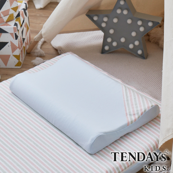 TENDAYs 有機棉可水洗透氣兒童枕(和風藍 5-8歲 可水洗記憶枕)