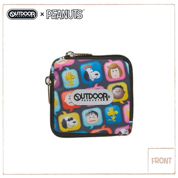 【OUTDOOR】SNOOPY聯名款emoji 方型雙拉鍊零錢包-黑 ODP21A04BK