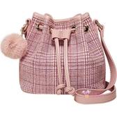 水桶包 小香風香奶奶迷你小包包粉色格子抽繩水桶包女2019網紅復古斜背包