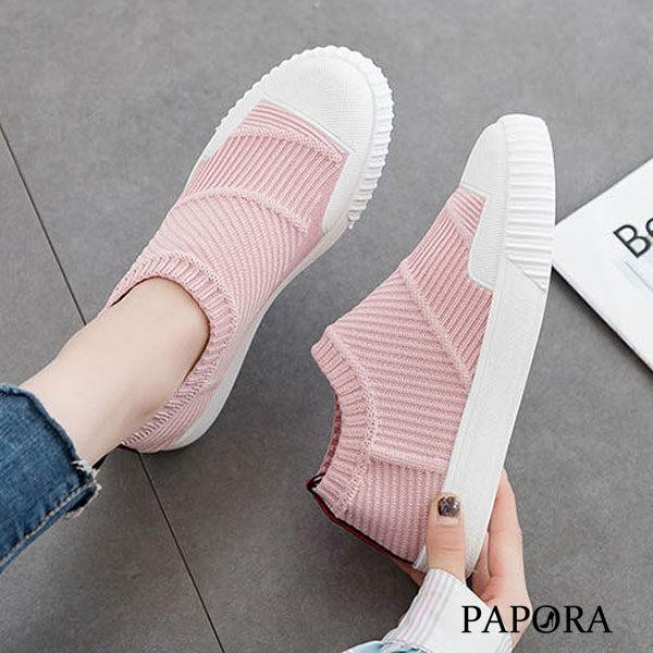 休閒懶人輕便平底布鞋KM01黑/粉/黃(偏小)PAPORA
