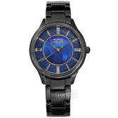 NATURALLY JOJO / JO96970-55F / 花樣潮流 珍珠母貝 藍寶石水晶玻璃 閃耀晶鑽 陶瓷手錶 藍x黑 36mm