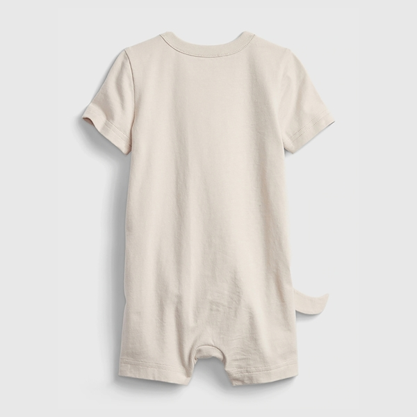 Gap嬰兒 純棉立體動物短袖包屁衣 682724-米色