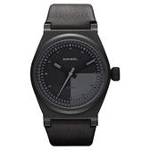 DIESEL 探索雷達個性腕錶-全黑/皮帶