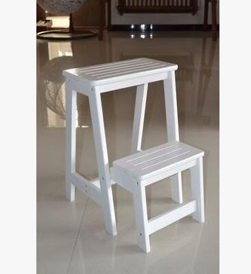 實木家用多功能折疊梯架創意樓梯椅梯凳室內多用單只價【二層梯凳白色】