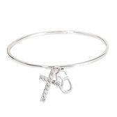 手鍊 手環 個性 時尚 百搭 經典 禮物 十字架 Bangle 銅鍍14K白金 施華洛世奇水鑽