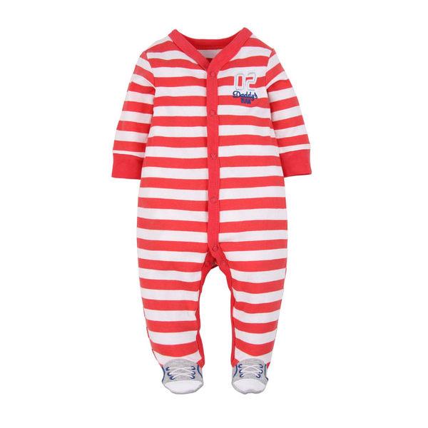 男Baby男童長袖連身衣紅色橫條橄欖球薄棉包腳連身衣現貨歐美品質